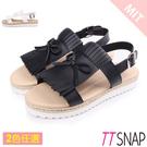涼鞋-TTSNAP 休閒流蘇雙層厚底涼鞋 黑/白