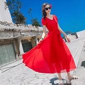雪紡洋裝短袖夏海南三亞藍色紅色收腰顯瘦沙灘裙海邊旅游度假裙 雙十二全館免運