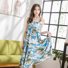 海灘度假出國休閒海洋印花吊帶連衣裙 (M7SS) 12042028