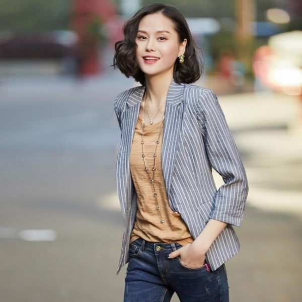西裝外套   條紋小西裝外套中袖修身七分袖休閑西服上衣薄