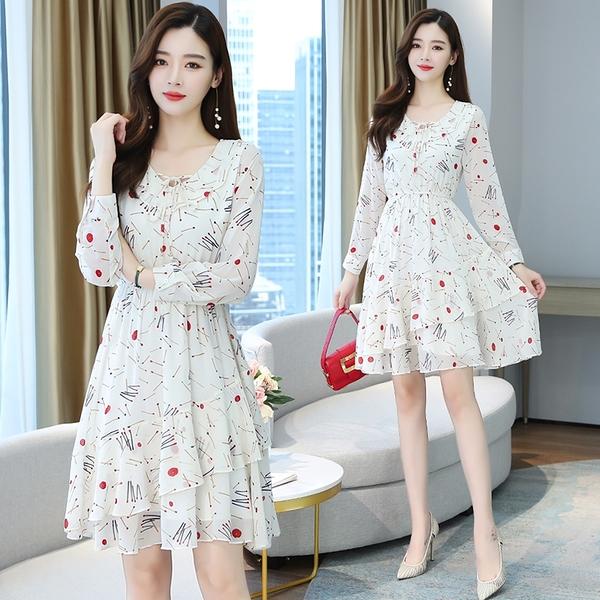 VK旗艦店 韓國風雪紡荷葉邊修身顯瘦優雅碎花長袖洋裝