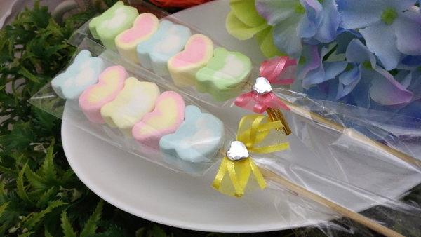 《婚禮小物- 熊愛哩棉花糖串/支》買百支送花筒/另有精緻小卡可加購