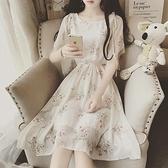 碎花裙 洋裝女神範夏季新款收腰顯瘦氣質碎花雪紡仙女超仙森繫裙子 朵拉朵
