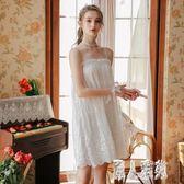 仙女風吊帶睡裙女夏季性感蕾絲公主白色睡衣薄款宮廷可愛冰絲家居服 XN2423『麗人雅苑』