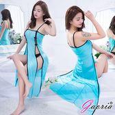 情趣睡衣 Gaoria 羅曼蒂克 性感誘惑長裙 丁字褲+內衣 藍色 N4-0012