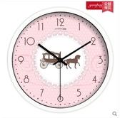 小鄧子田園歐式客廳靜音石英鐘錶 家居裝飾臥室粉色創意掛鐘(12英寸)