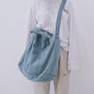 帆布包日系韓版女學生側背包牛仔帆布袋購物袋斜背包 黛尼時尚精品
