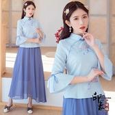 漢服改良式女 中國風繡花旗袍年輕款民國風女裝唐裝大尺碼茶服 萬聖節鉅惠