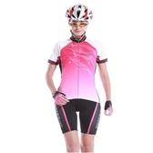 自行車衣套裝-含短袖腳踏車服+單車褲-透氣壓邊速乾女運動服69u65[時尚巴黎]