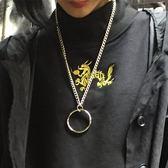 韓國ulzzang原宿風簡約個性百搭情侶圓環掛飾鈦鋼項鏈飾品男女潮 生日禮物