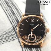 FOSSIL Commuter經典復刻真皮機械錶 獨立小秒盤 男錶 防水手錶 黑X玫瑰金框 ME1168【時間玩家】
