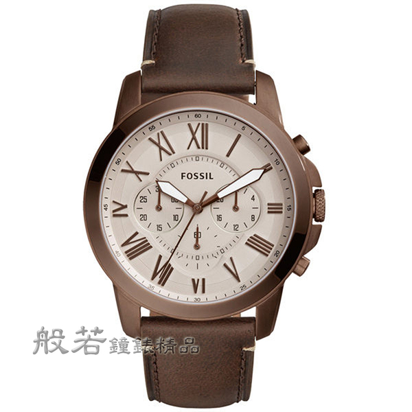 FOSSIL Grant 古典伯爵三環計時腕錶-咖啡金殼X咖啡皮