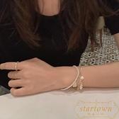 手鏈假三件珍珠學生愛心飾品簡約氣質輕奢手鐲【繁星小鎮】