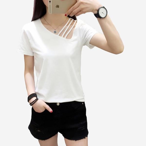 領口斜吊帶性感短袖T恤 (黑 粉  白)三色售 11710015