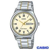CASIO卡西歐 簡潔經典金系時尚鋼帶腕錶 MTP-V006SG-9B
