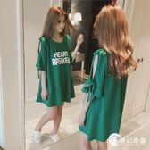 孕婦裝-夏裝連身裙新款時尚韓版T恤中長款夏季短袖上衣夏裝-奇幻樂園