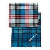 【COACH】經典COACH LOGO 100%羊毛短流蘇格紋圍巾(藍黑粉格紋)