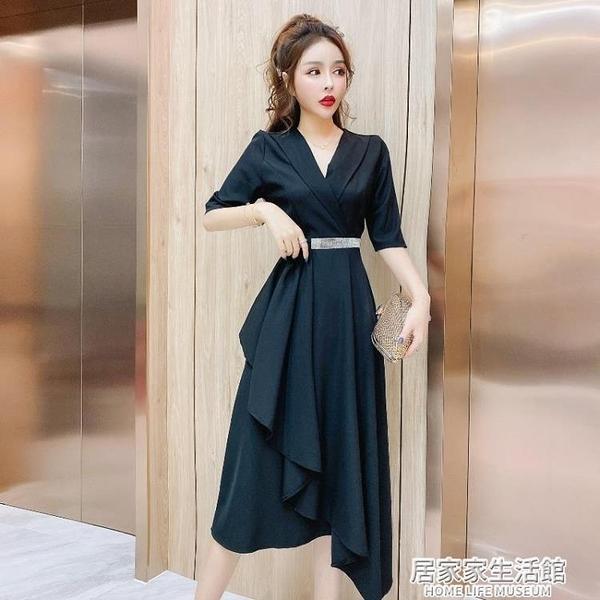 2020年時尚OL御姐輕熟風氣質中長款不規則下擺西裝領鑲鉆洋裝女 中秋節全館免運