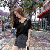 黑色t恤女短袖2019新款韓版初春女裝v領上衣寬鬆半袖網紅同款體恤      橙子精品