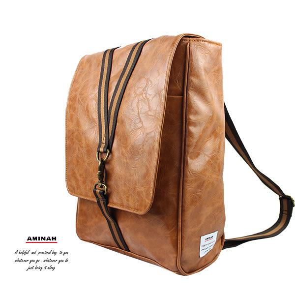 棕色鉤扣兩用後背包 AMINAH~【am-0297】
