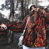 國潮楓林晚套頭高領夾克男女情侶寬鬆oversize外套嘻哈ins衝鋒衣
