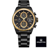 ELEGANTSIS 超大錶面強悍黑金三眼黑鋼錶 46mm ELJT42R-6B04MA 公司貨 | 名人鐘錶高雄門市