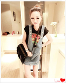 ✿ 3C膜露露 ✿夏季新款韓版女裝吊帶背心修身包臀牛仔背帶連身裙 短裙子