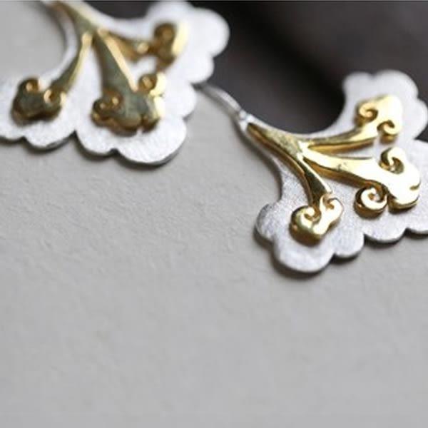 藝術素銀傳統同心如意結純銀鑲金長耳墜