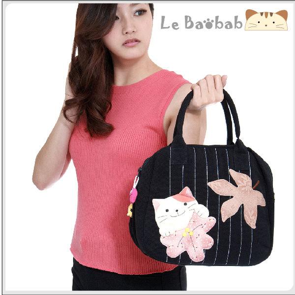 手提包~雅瑪小鋪日系貓咪包 啵啵貓楓葉雙層手提包/側背包/拼布包包