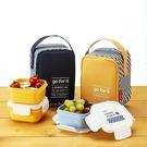 韓國KOMAX 迷你餐盒三件組-附提袋(共2色) 餐盒 便當盒 儲物盒