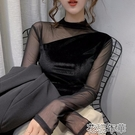 金絲絨上衣半高領網紗拼接打底衫女秋裝新款韓版金絲絨性感百搭上衣 快速出貨