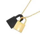 HERMES 愛馬仕 O Kelly 89 Noir 黑色牛皮x金色金屬鎖頭造型項鍊 Pendant【BRAND OFF】
