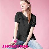【SHOWCASE】雪紡拼接字母蕾絲上衣(黑)