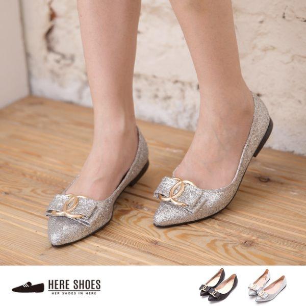 [Here Shoes]2色 小香風蝴蝶結金蔥 尖頭平底包鞋 乳膠鞋底舒適包鞋 娃娃鞋 ◆MIT台灣製─AA902C