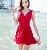游泳衣女保守顯瘦遮肚性感韓國洋裝式小胸聚攏大碼泡溫泉泳裝   麥琪精品屋