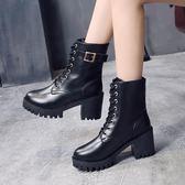 歐美馬丁靴女粗跟新款冬靴百搭學生中筒靴厚底高跟短靴