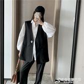 洋氣一粒扣外穿馬甲女秋季新款韓版休閒寬鬆純色V領無袖外套 時尚芭莎