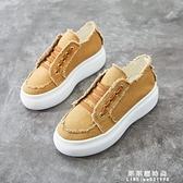 帆布鞋女厚底2020春季新款韓版百搭歐洲站繫帶小單鞋增高鬆糕鞋女 果果輕時尚