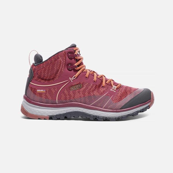 [KEEN] 女 TTERRADORA MID WP 健行鞋 酒紅/紅 (173-1017690)