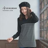 長袖上衣--經典條紋剪接立型V領簡約縮口袖寬下襬長版上衣(黑XL-3L)-X247眼圈熊中大尺碼