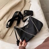 女包斜背包2020新款百搭法國小眾洋氣寬帶黑色托特側背腋下包 韓國時尚週