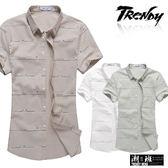 『潮段班』【SD032212】滿版橫線英文印花立領短袖襯衫上衣