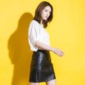 小皮裙半身裙女黑色短裙韓版包臀高腰