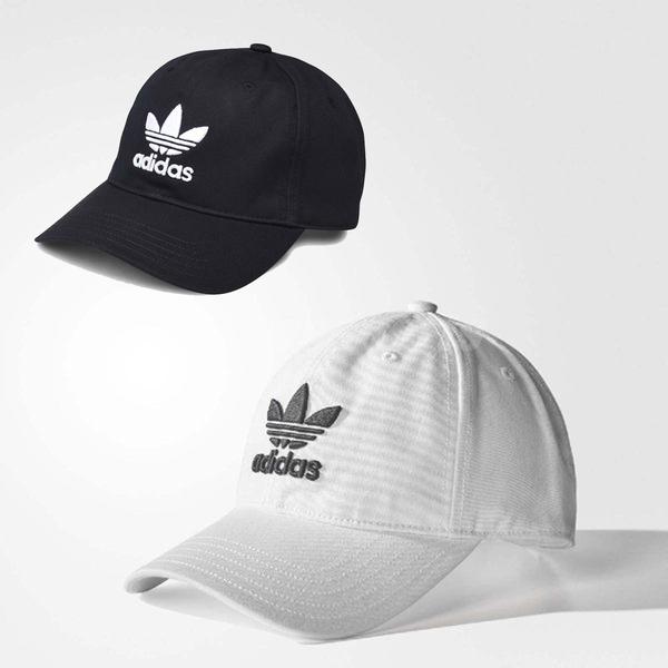 adidas 帽子 Trefoil Cap 可調整 老帽 黑 / 白 兩色任選 棒球帽 男女款 穿搭必備【ACS】