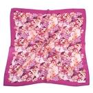NINA RICCI滿版花卉圖騰絹絲綿領帕巾(紫紅色)989028-A