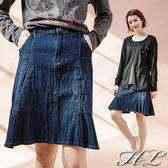 .GAG GLE超大尺碼.【16061009】俏麗個性波摺紋感單寧牛仔裙 1色
