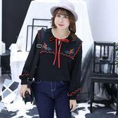 中大尺碼~花瓣領口雪紡長袖襯衫(XL~4XL)