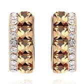 水晶耳環 925純銀(耳針式)-精美鑲鑽生日情人節禮物女飾品4色73bd99【時尚巴黎】