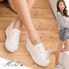 [Here Shoes]零碼39 2色 韓版熱賣款 華麗耀眼寶石 增高6CM厚底鬆高鞋 帆布鞋─KP666-1