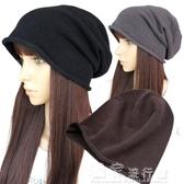 頭巾帽帽子男女寬鬆針織帽情侶帽棉線韓版潮休閒堆堆帽秋冬防風頭巾帽薄 快速出貨